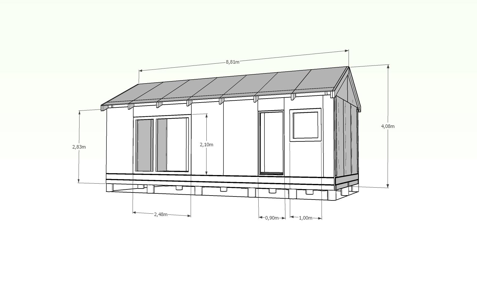 Topnotch Projekt domu 35m2 – Dom bez pozwolenia na budowe SX21